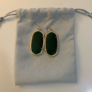 Kendra Scott Gold and green statement earrings